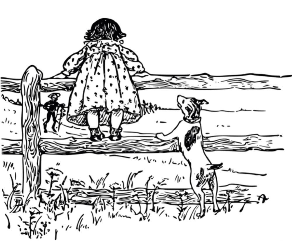 ilustração feita apenas em linhas pretas em fundo branco de uma menina apoiada em uma cerca de madeira. Ela veste um vestido bufante e está olhando para além da cerca, de costas para a gente. Ao lado dela, um cachorro se apóia na cerca, olhando para ela. Ao longe, uma figura de um homem com chapéu e um cajado.